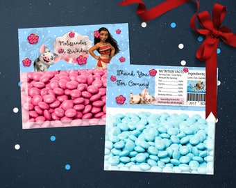 Personalized Moana and Pua Bag Topper Printable Baby Blue Polka Dots Hibiscus Tropical Flowers Birthday Party Favors DIY - Digital File