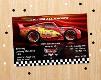 Personalized Cars 3 Lightning Mcqueen Birthday Party Invitation Race Car Racing Invite Printable DIY Artiqles - Digital File