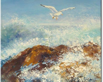 Seagulls, surf... seascape animal original painting nature art | wedding birthday gift | ready to hang 'home sweet home' or for a fiend...