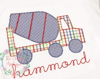 cement mixer blanket stitch applique vintage style design file