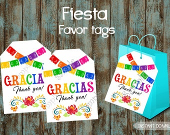 Fiesta Favor Tags, Fiesta Gift Tags, Fiesta Party Tags, Fiesta Thank You Tags, Mexican Favor tags, Mexican Gift Tags, Mexican Fiesta Labels