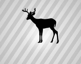 Deer Silhouette Reindeer Buck - Svg Dxf Eps Silhouette Rld RDWorks Pdf Png AI Files Digital Cut Vector File Svg File Cricut Laser Cut
