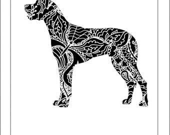 Great Dane Silhouette - Papercut Template Paper Cut Silhouette Pdf Line Art Cut Files