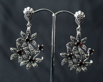 Handcrafted Artisan Jewelry, Silver Flower Earrings, Laos Jewelry, Garnet, Marcasite