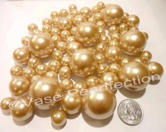 All Gold Pearls Vase Fillers in Jumbo & Assorted Sizes for Centerpieces and Tablescapes