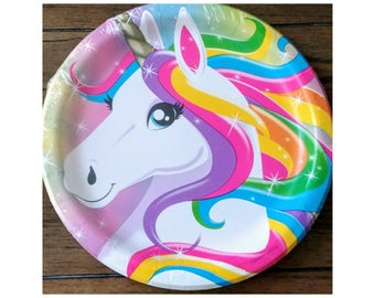 "10pc. Rainbow Unicorn 9"" Birthday Dinner Plates ~ Party Supplies Tableware"
