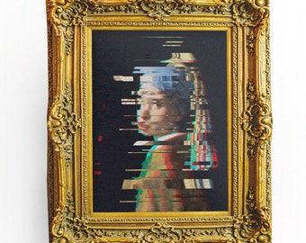 Girl With A Pearl Earring Digital Art, Glitch Art Effect, Classical Art with a Modern Twist
