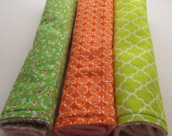 100% cotton Burp Cloths.  White Terry cloth. Citrus colors--Orange and Lime