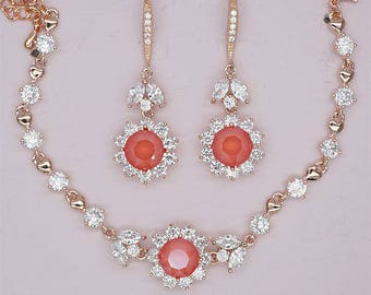 Red Bridesmaid Jewelry Set Rose Gold Earrings and Bracelet Sets Wedding Party Jewelry Light Coral Swarovski Crystal Jewelry Silver