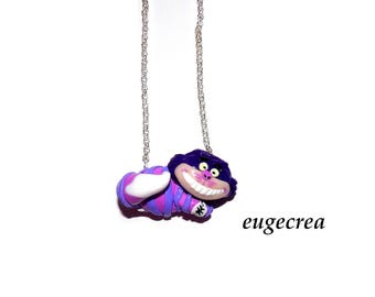 Cat necklace alice in Wonderland with polymer clay
