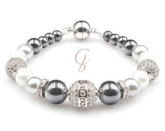 Grey Hematite bracelet beads fine cubic zirconia