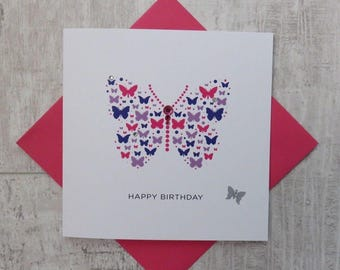 Handmade Birthday Card with Butterfly design