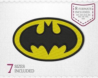 Batman Embroidery Machine Design - 7 Sizes - INSTANT DOWNLOAD - Applique, Embroidery, Designs