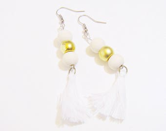 Earrings Bohemian chic beige and gold