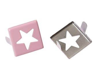 set of 20 Rivets shape square with star 15X15mm