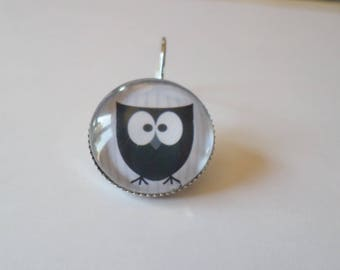 SOLD to the PIECE, earring, 18 mm glass cabochon, OWL