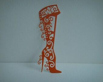Boot heel eyelet cutout hand rolled orange vinyl