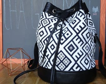 Black and white ethnic purse bag