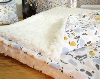 Baby blanket in cotton and Sheepskin fur