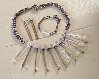 Escada sport, silvercoloured with plexiglass necklace set