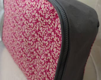 soft pink and grey suitcase