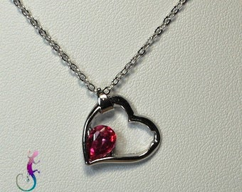 Chain + A191 dark pink Crystal heart pendant