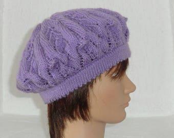 Hat - Woman - wool - pretty fancy openwork - Handknitted - purple color - summer Beret Hat autumn winter