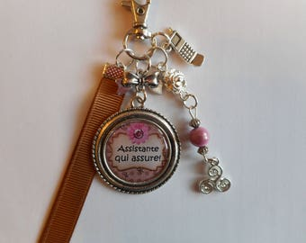 """Bag charm - door keys/Assistant/Secretary / """"Assistant who ensures!"""" / gift/birthday/thank you/party"""