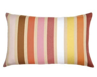 cushion, canvas, BASQUE, cotton, STRIPED, MULTICOLORED, GARLIN nutmeg ARTIGA