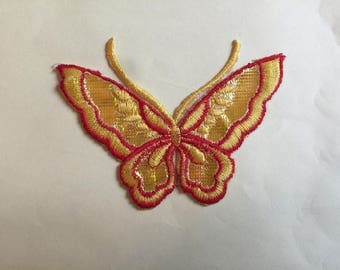 Applied fusible large bright red and Yellow Butterfly