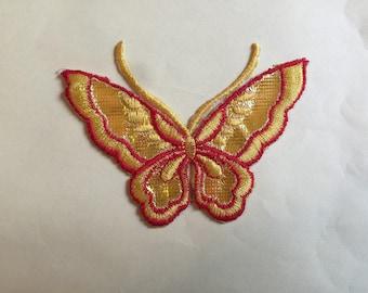 Appliqué thermocollant grand papillon jaune et rouge brillant