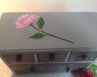 Dresser jewelry box wooden 4 drawer handpainted weathered light gray and gray basalt with rose - convenient