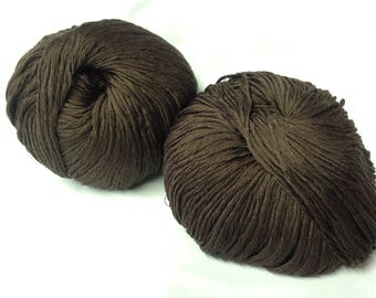 lot 10 balls of wool and silk / chocolate / made in FRANCE