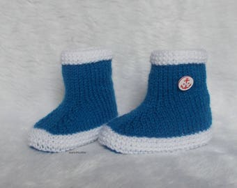 booties wool baby rain boots 0/3 months nattier blue hand knitted white