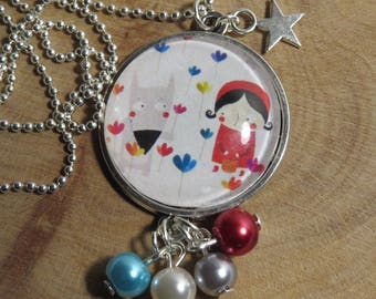 Silver necklace - round Cabochon pattern little Red Riding Hood and Wolf