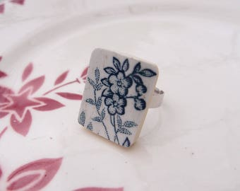 Vintage ring Navy blue flowers porcelain recycling retro French vintage old retro vintage jewelry