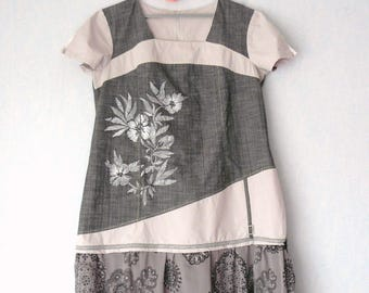Dress romantic Shabby Chic, black grey and Beige, women size 48