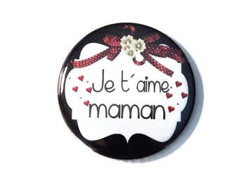 """Pocket mirror, mirror bag gift MOM """"I love you MOM"""" / mother's day"""