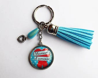 "Keychain cabochon ""love MOM"""