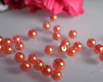 50 Pearlescent yellow/orange glass beads 4 mm