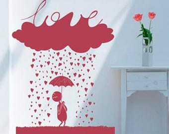 Rain of love wall sticker, rain of love wall decal decor, love wall sticker removable vinyl wall art [IN001]