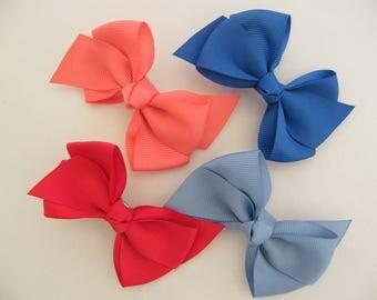 2 bow 5.5 cm crocodile hair clips grosgrain (red, coral, Royal Blue, light blue) girl