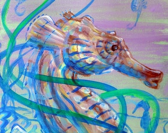 """Pastel Seahorse Acrylic Painting size 16X20"""" on Canvas, Ready to Hang"""