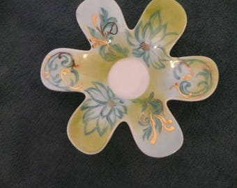 Porcelain tealight candle holder-Flower: gold and turquoise