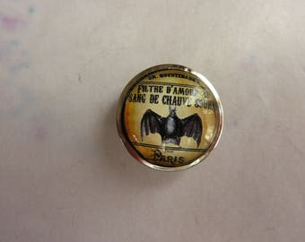 1 cabochon snap filter the blood of bat love mouse in glass and metal silver 19mm