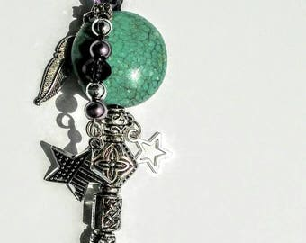 Star rearview  mirror charm,western mirror charm, turquoise mirror charm