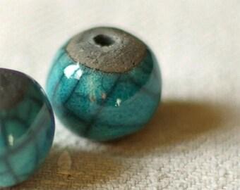 """set of 2 """"raku"""" enamel and black beads"""
