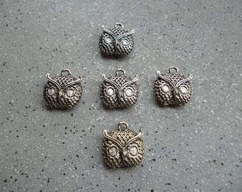 5 charms in silver owls owls