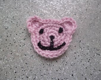 1 applique Teddy bear in pink cotton crocheted by me