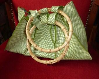 Lime green genuine snake print leather handbag